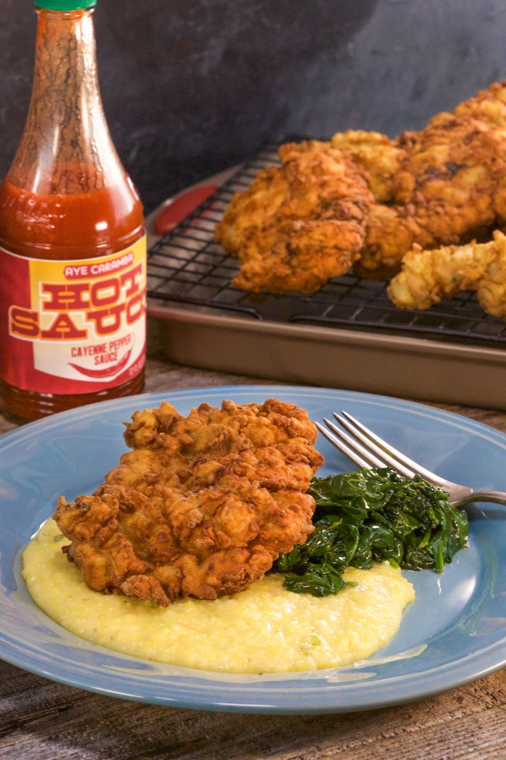Comfort food doesn't get much better than this fried chicken and cheesy grits recipe.