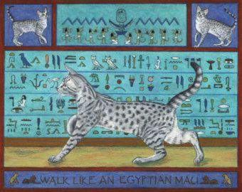 art chat mau égyptien ouvert à tirage par EYEDEAS sur Etsy