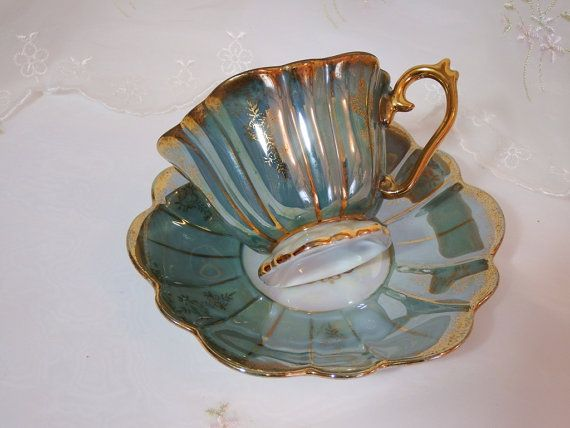 Vintage 1950s, Fan Crest. Irridescent, Turquoise, Cup and Saucer, Hand Painted, Made In Japan, Fine China, Pattern 1978