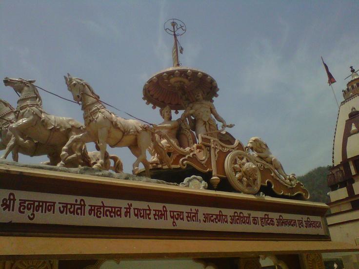 on the banks of the Ganges, Rishikesh: Arjuna and Krishna
