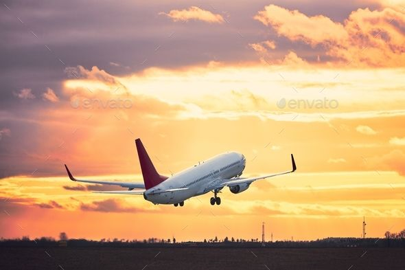 Take Off At The Sunset Stock Photos Sunset Photo