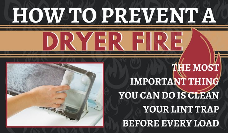 NFPA Prevent Dryer Fires Statistics - NATIONAL FIRE PROTECTION ASSOCIATION Home Fires Clothes Dryers - How to prevent a dryer fire - simple things you can do - Clean the lint trap after every load