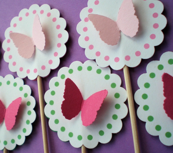 Butterfly party cupcake toppers.