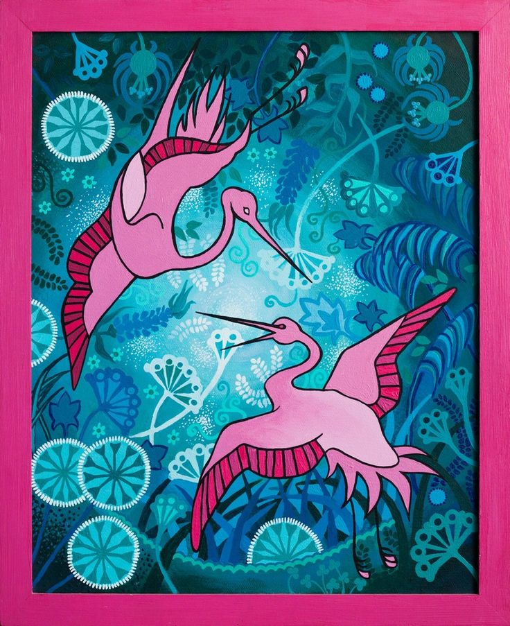 Flying cranes by Natalia Bienek, acrylic painting on canvas in a frame, pink and turquoise