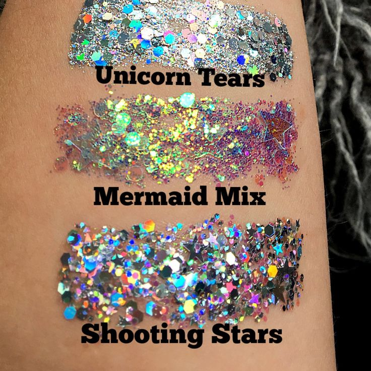 Mermaid face and eye glitter gel paste make up in a variety