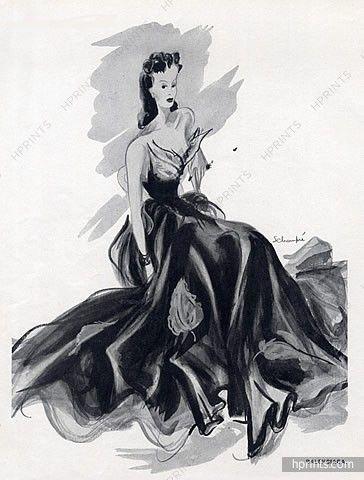 Balenciaga (Couture) 1939 Organsoie Evening Gown, Schompré