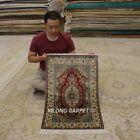 Yilong 2'x3′ Handmade Silk Area Rugs Porch Vintage…