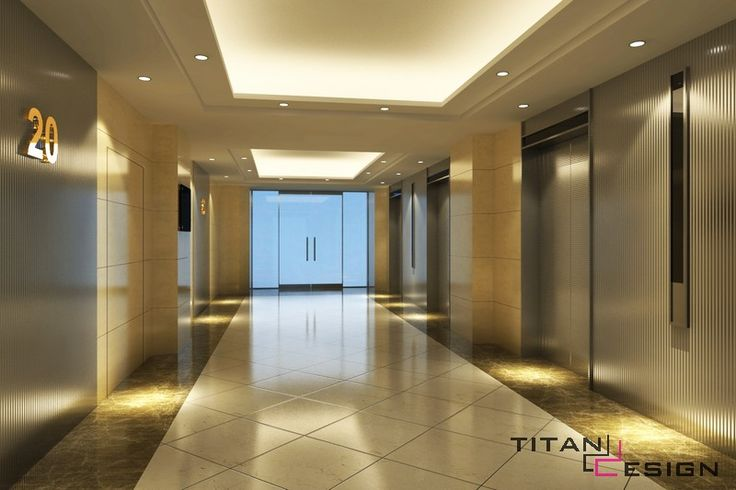 Interior design office lobby elevator with awesome for Condo ceiling design
