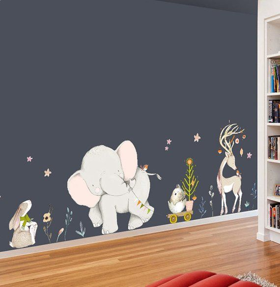 Ins Style Watercolor Elephant Rabbit Wall Stickers Colorful Animal Wall Decla FB
