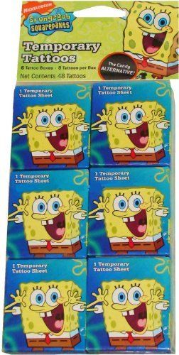 SpongeBob Squarepants Temporary Tattoos Party Favors 6ct Mini Boxes by LGP. $14.05. Get your motor started with SpongeBob Squarepants tattoos! Add some style to your outfit and make a fashion statement by applying these temporary tattoos to your skin that feature different SpongeBob characters on each sheet. These SpongeBob Squarepants Temporary Tattoos set makes a great game prize or party favor for your SpongeBob Squarepants fans. Full application and removal ins...