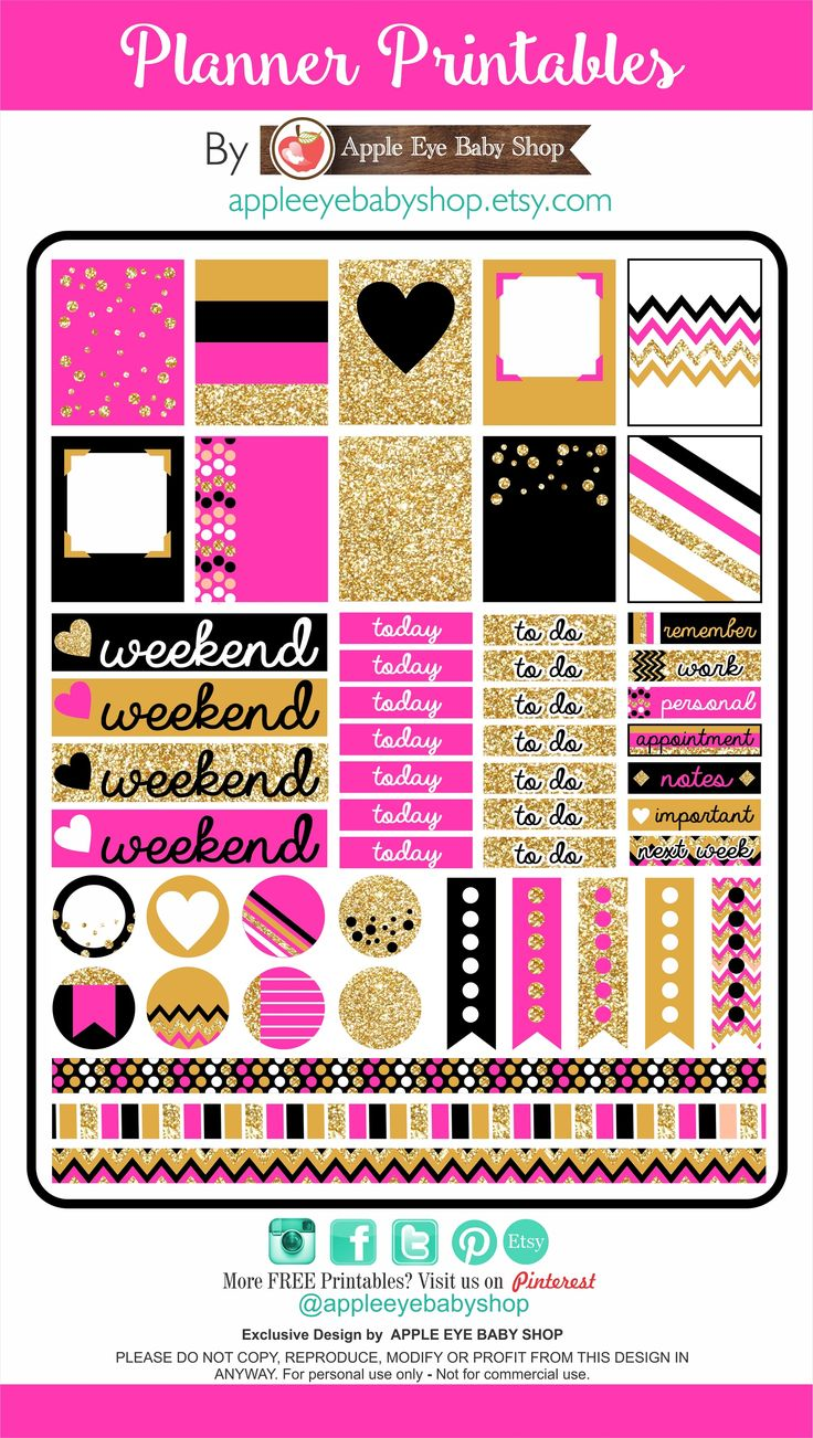 I have something for you... FREE Planner PRINTABLES! Gold Glitter, Black, Pink. Great in your Filofax, Erin Condren, Life Planner, Agendas, Kate Spade Inspired Stickers, Notecards, Organizing/Gift Labels, Notebooks, Stationary, Journals, Plum Paper. DIY Crafts, Cricut or Silhouette Projects & more... DOWNLOAD - PRINT - CUT. By APPLE EYE BABY SHOP