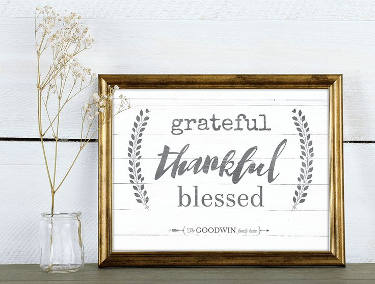 Grateful Thankful Blessed is a rustic looking charming personalized print. Add…