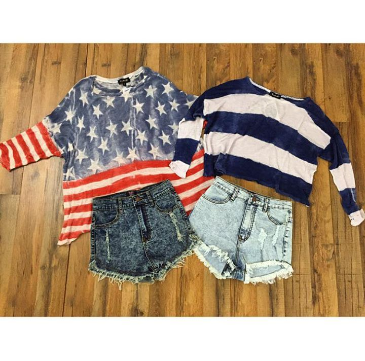 "On a scale of 1 to America how much are y'all free..king out about these?? < ""independence day"" ""stars and stripes"" sweater $48 > #hiddenarrow #usa #july4 #boutique #womensclothing #patriotic #merica"