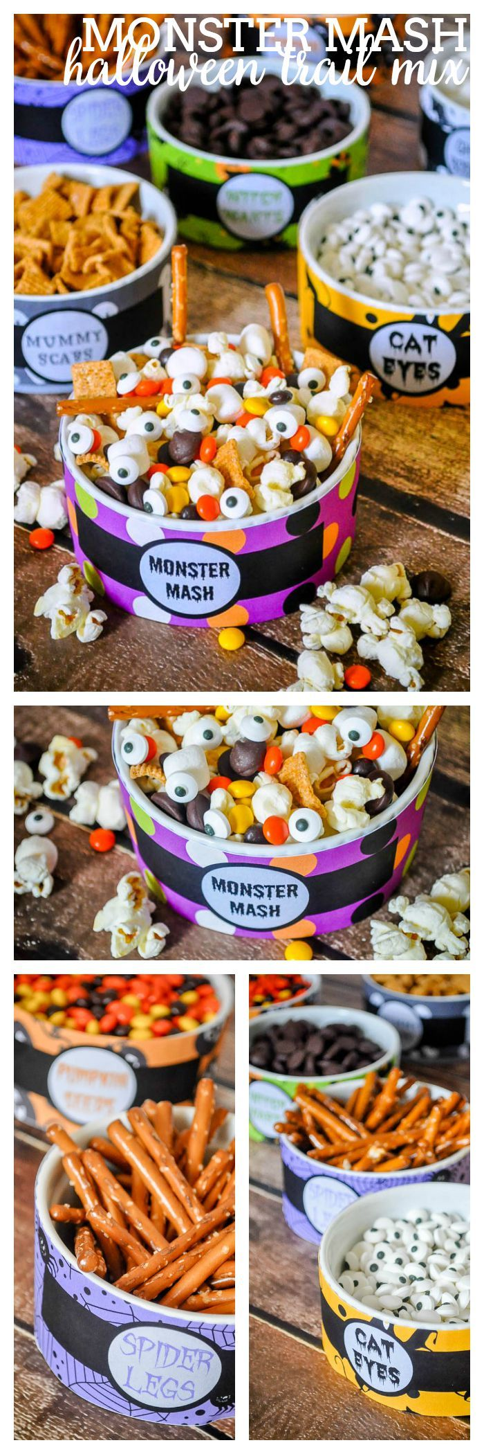 Monster Mash - A Fun and Easy Halloween Trail Mix! Creating a Halloween recipe doesn't need to be hard. Use my free printable to make this Monster snack! | The Love Nerds