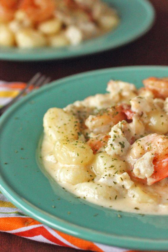 Seafood Gnocchi in a White WIne Cream Sauce. Delicioso