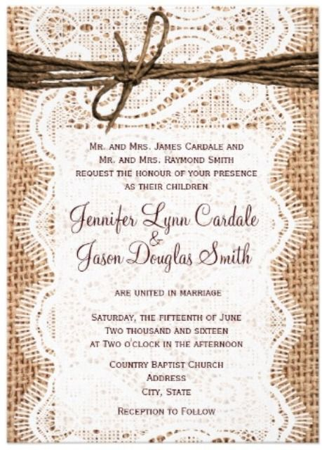 rustic country western wedding invitations with lace