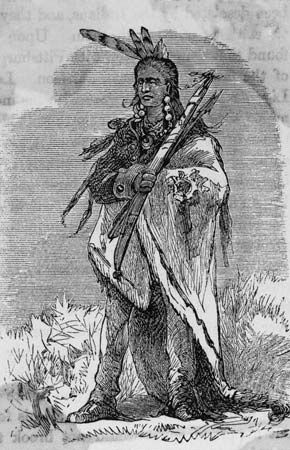 Ottawa Indian chief Pontiac who became a great intertribal leader when he organized a combined resistance—known as Pontiac's War (1763–64)—to British power in the Great Lakes area. Little...