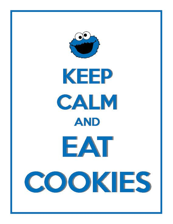 PRINTED FOR YOU Keep Calm and Eat Cookies Cookie Monster Birthday Party Sign