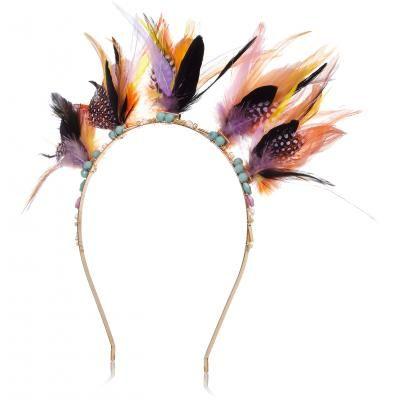 Yellow feather headband xx