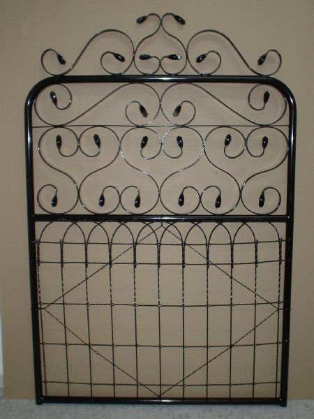 Devonport Product Specifications.  27mm OD galvanised tube Stainless steel scrolls Silicon bronze welding Powder coated Frame heights: 1200mm, 1050mm, 900mm, or custom-made to order Pedestrian or driveway combination Colours include: Primrose, Fed Red, Heritage Green, White Birch, Mist Green, White Gloss & Black (other colours available on request)  Australian made.