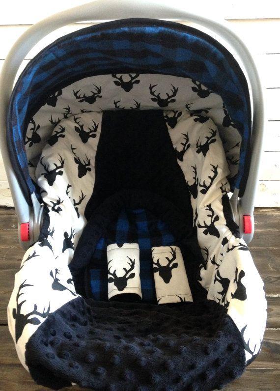 Amazing Boy Car Seat Cover Car Seat Canopy Custom Deer Blue Plaid Creativecarmelina Interior Chair Design Creativecarmelinacom