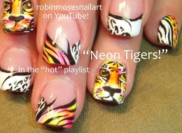 Neon Tiger (Life of Pi) Nail Art by Robin Moses