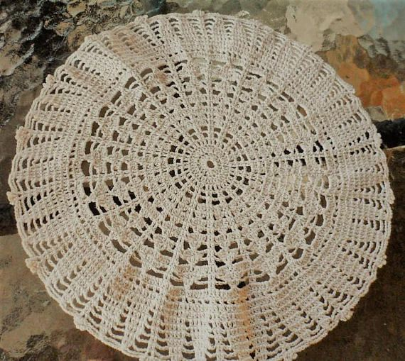 Vintage 1960s Hand Crocheted Round Beige-Taupe Colored 100