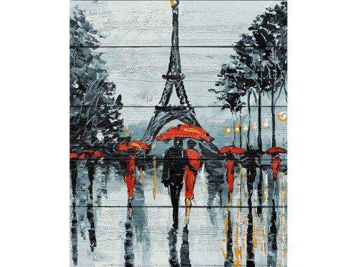 Картина по номерам по дереву «Парижские зонтики», раскраска по номерам