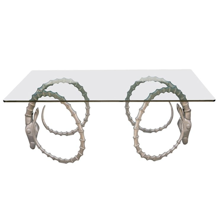 Glass Dining Table With Large Steel Ibex Head Base