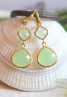 Mint Bridesmaid Earrings in Gold