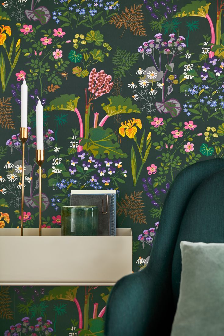 a stunning wallpaper design featuring bright flowers leaves and rhubarb plants on a dark green - Wall Paper Designers