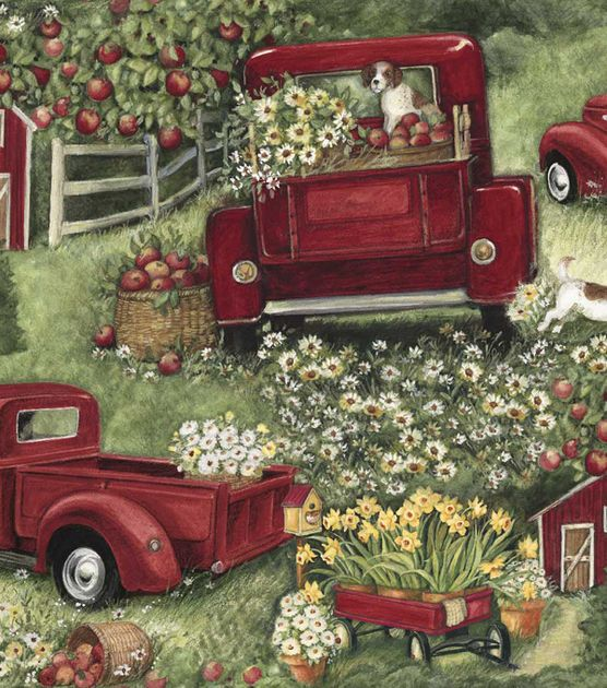 Susan Winget Quilt Fabric Pick Up Christmas Red Truck