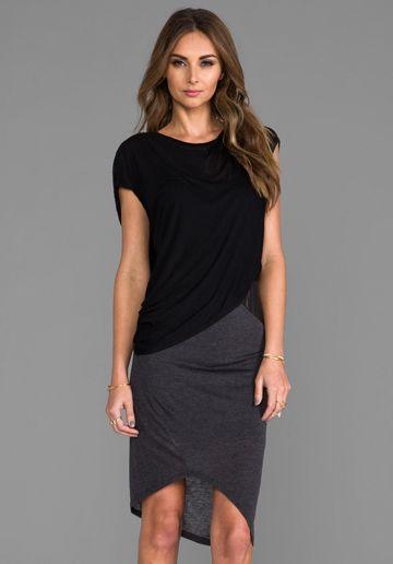 Heather Asymmetric Leather Detail Dress in Black