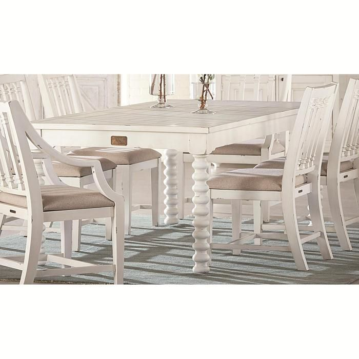 Traditional 6 Ft Spool Leg Dining Table In Jos White