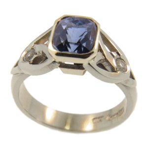 18ct White & Yellow Gold Ceylon & White Sapphire ring, handmade at Cameron Jewellery by Sam Drummond