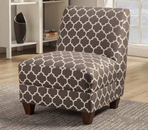 Gray Quatrefoil Armless Chair