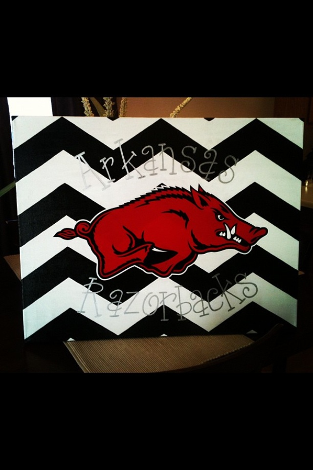 Love this Razorback canvas and font! Friend painted this for my sons room, great gift! Easton Cole Sanders will love it!
