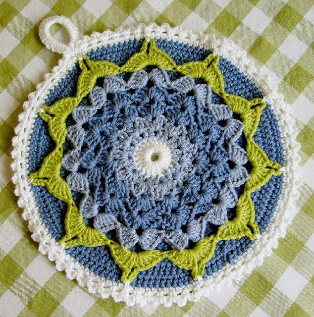 Blue Flower Crochet Pot Holder