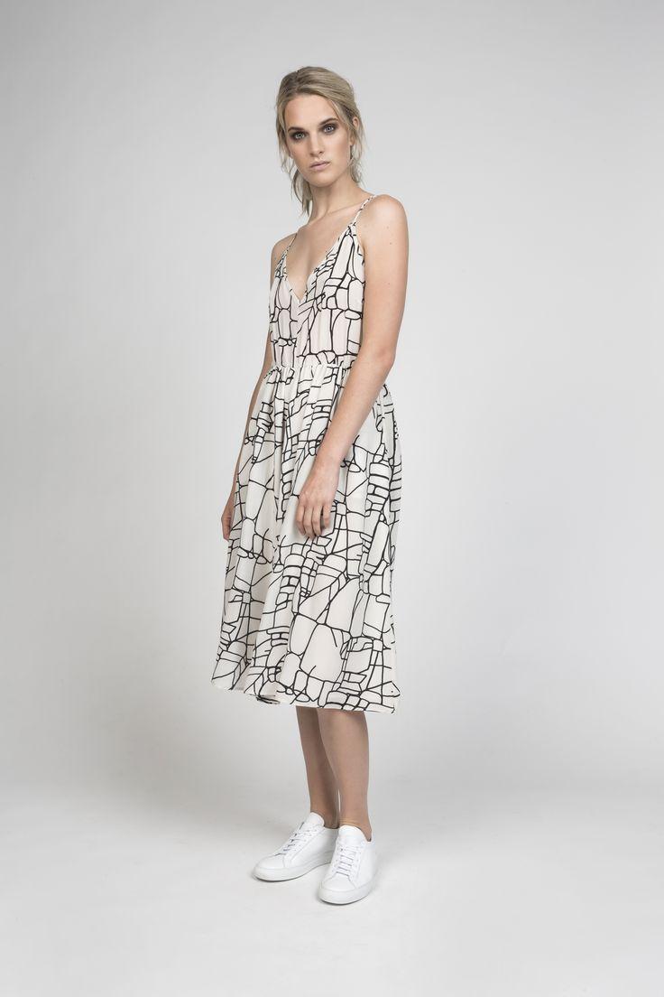 joan dress in rock lines silk | desert storm s/s16