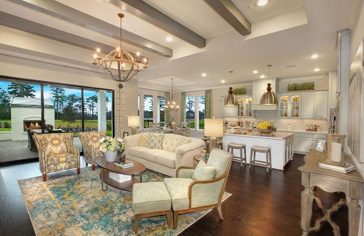 Open concept family room kitchen and breakfast room with beam ceiling hardwood floors and & 91 best Houston TX - Drees Custom Homes images on Pinterest ... pezcame.com