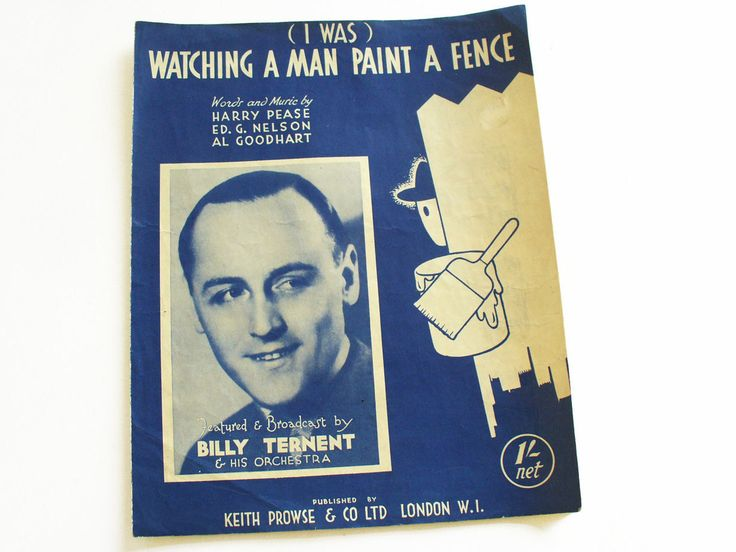 1940s sheet music with lyrics - Watching a man paint a fence by Billy Ternent by RetroDelia on Etsy