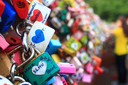 infamous love padlock at Seoul Tower terrace