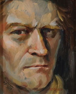 "Terence Coyle ""Self Portrait"" oil on canvas."