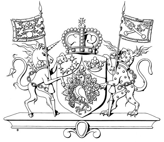 The personal Coat of Arms of the Princes of Lorenzburg. The sketch is made by renowned herald/ Heraldic Artist Davor Zovko