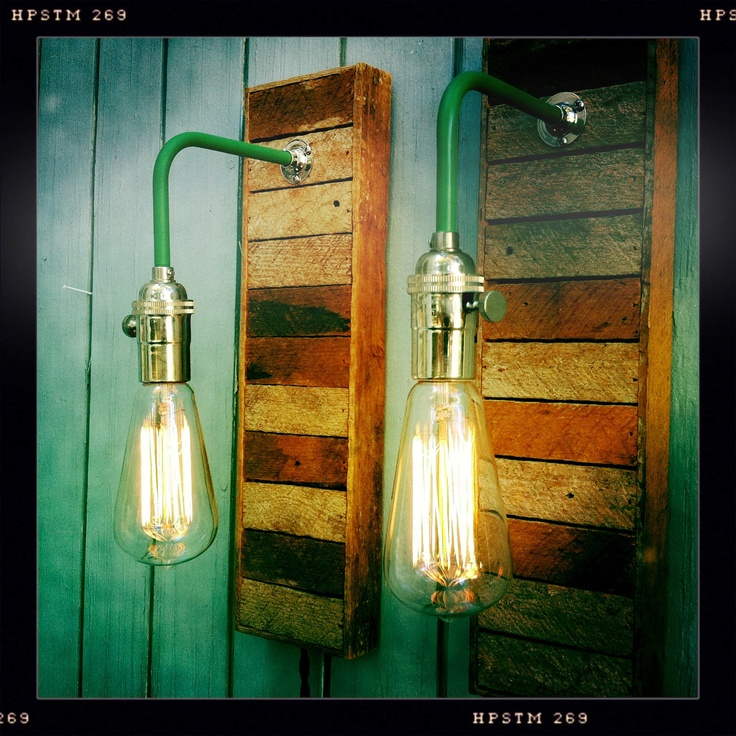 Reserved For Jacquidowd Rustic Lighting With Vintage Rustic: Pair Vintage Industrial Style Sconces Lamps With Reclaimed