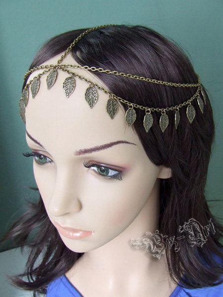 Antique Golden Tone Gypsy Head Piece Bohemian Double Chain Headband Renaissance Medieval Celtic Circlet Boho Headpiece Headdress