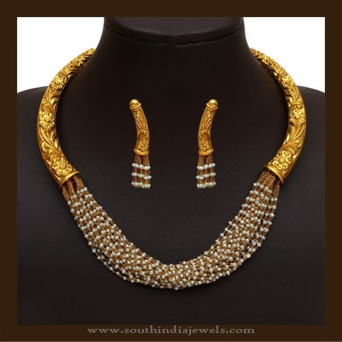 Gold Antique Designer Pearl Necklace, Antique Designer Pearl Necklace, Designer Pearl Necklace Collections.