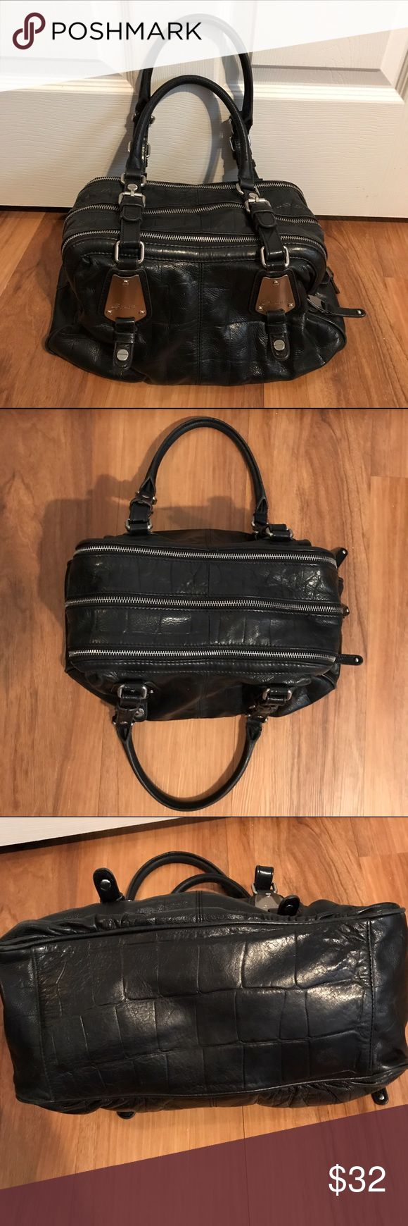 """B Makowsky Handbag- Black Nice preowned condition. Leather and inside are clean with no issues. Handles have some cracking on inner edge. See last pic. 14""""x9""""x6"""" with 11"""" drop b. makowsky Bags"""