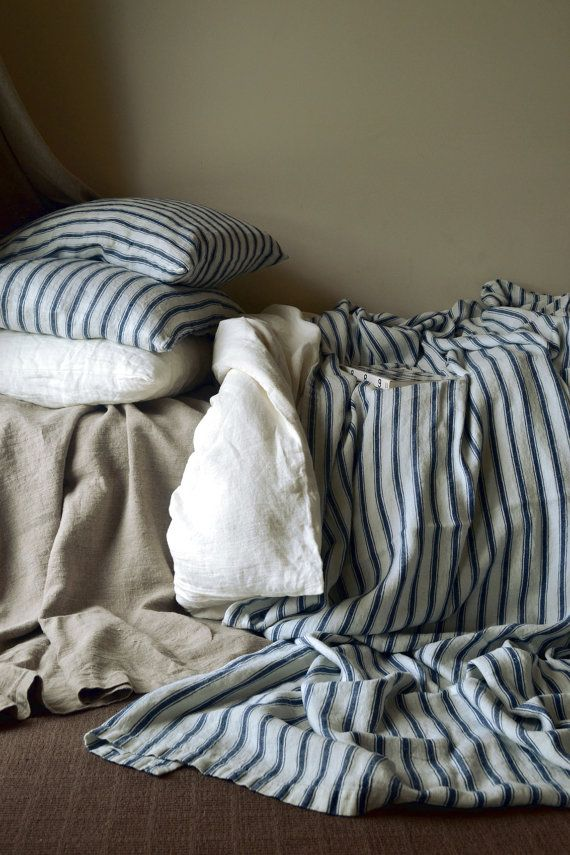 French vintage inspired linen navy ticking bed cover/ coverlet/ bed throw/ summer blanket. Stonewashed rustic heavy weight linen