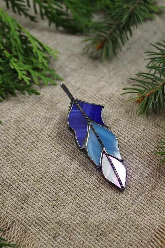 Stained glass brooch Feather brooch Holiday gift for women
